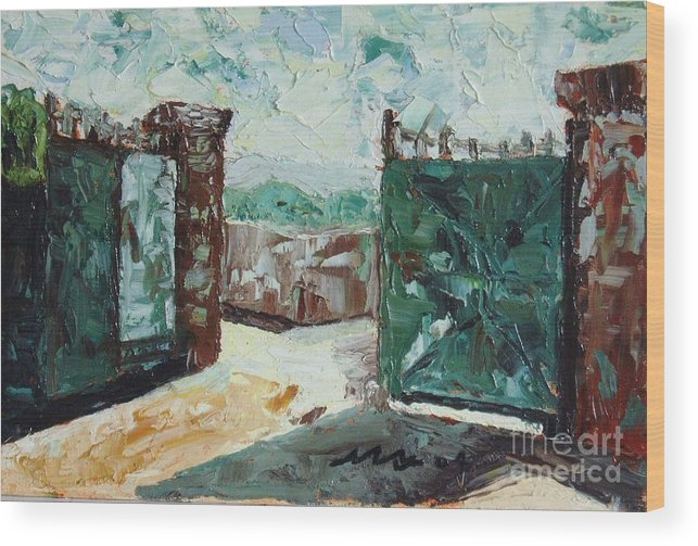 Gate Oil Canvas Wood Print featuring the painting Gate2 by Seon-Jeong Kim