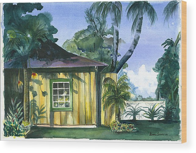 Evening Sunset On Rustic Building Wood Print featuring the painting Gaylords Carriage House by Ileana Carreno