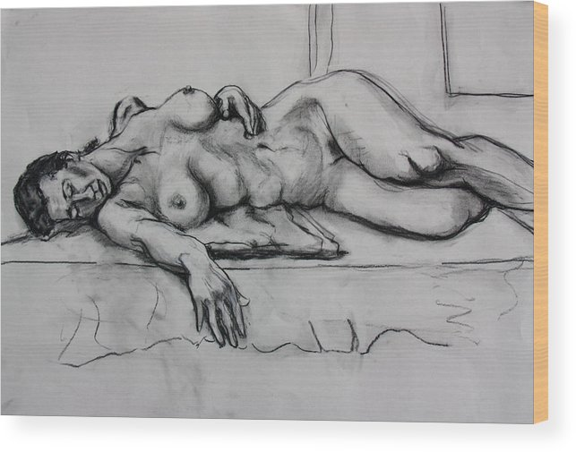 Female Nude Wood Print featuring the painting Ge by Dan Earle