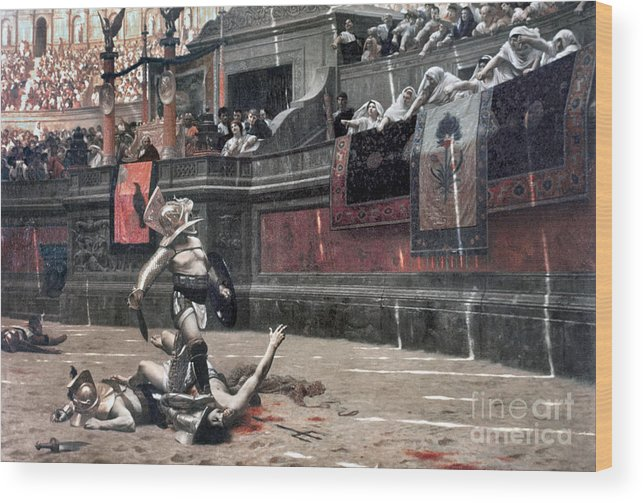 Ancient Wood Print featuring the photograph Gerome: Gladiators, 1874 by Granger