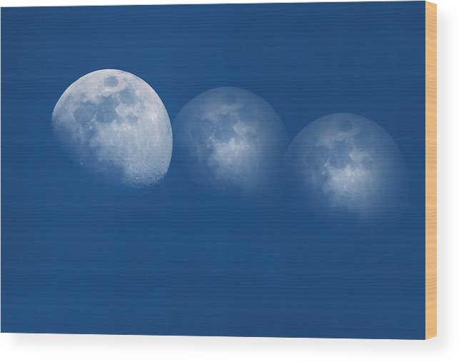 Abstract Wood Print featuring the photograph Ghost Moons by Mary Lane