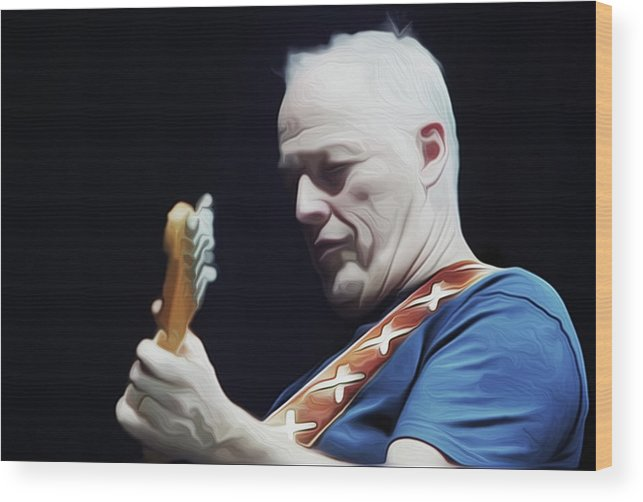 David Gilmour Wood Print featuring the painting Gilmour By Nixo by Never Say Never