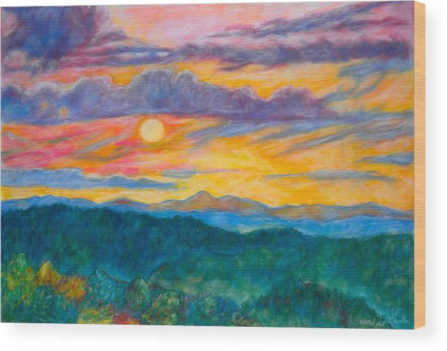 Landscape Wood Print featuring the painting Golden Blue Ridge Sunset by Kendall Kessler
