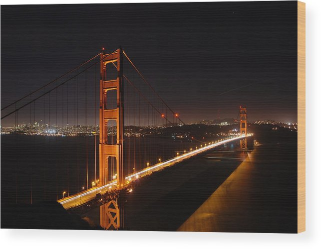 Golden Wood Print featuring the photograph Golden Gate Bridge by Gene Sizemore