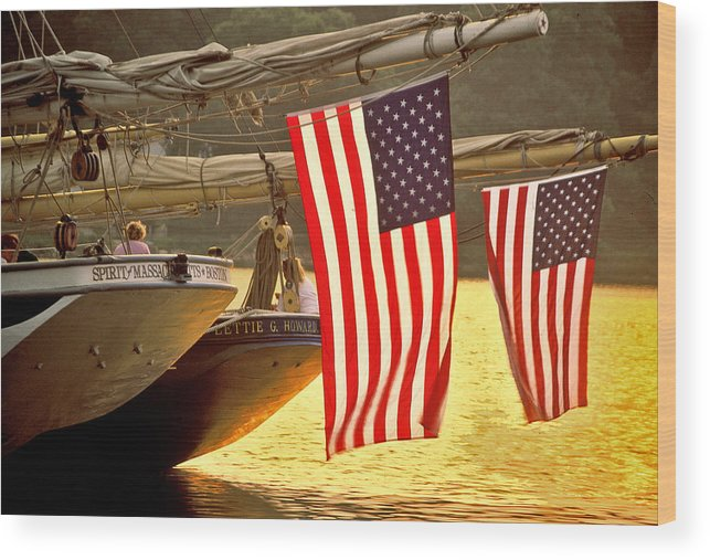 Sunset Wood Print featuring the photograph Golden Sunset And American Flags by Stephen Sisk