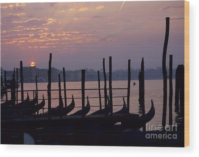Venice Wood Print featuring the photograph Gondolas In Venice At Sunrise by Michael Henderson