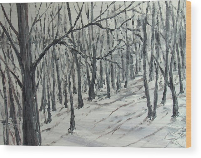 Landscape Wood Print featuring the painting Gone by Pete Maier