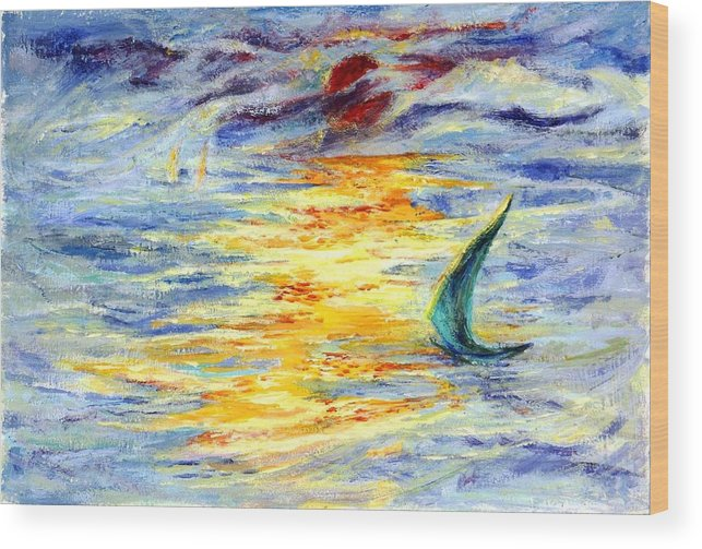 Sail Wood Print featuring the painting Green Sail At Sunset by Lily Hymen
