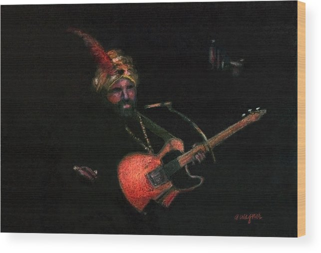 Guitar Wood Print featuring the pastel Halloween Gig by Arline Wagner
