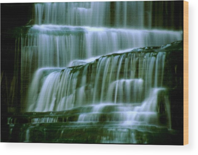 Waterfall Wood Print featuring the photograph Hector Falls -detail by Roger Soule