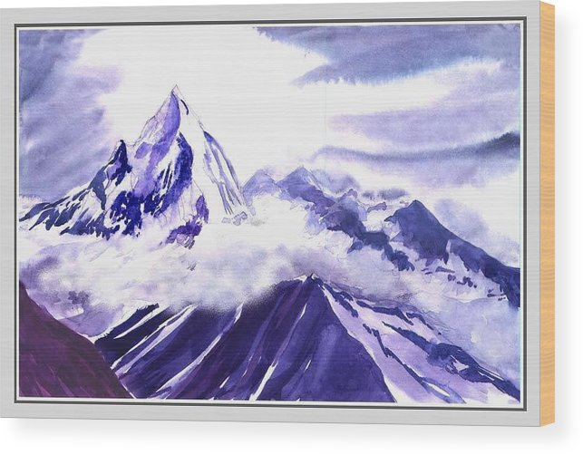 Landscape Wood Print featuring the painting Himalaya by Anil Nene
