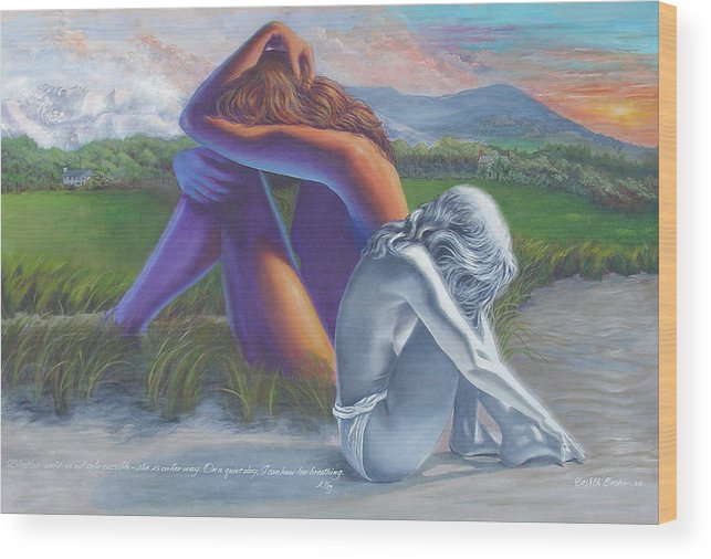 Figure Wood Print featuring the painting I Can Hear Her Breathing by JoAnne Castelli-Castor