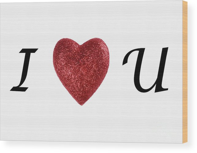 Simplicity Wood Print featuring the photograph I Love You Sign On White Background by Sami Sarkis