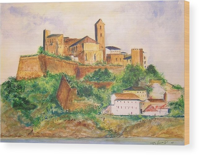 Landscape Wood Print featuring the painting Ibiza Old Town Unesco Site by Lizzy Forrester