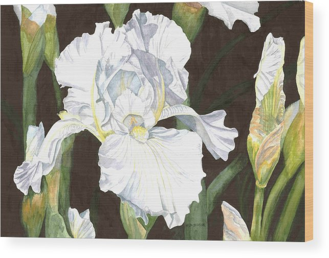 White Iris Wood Print featuring the painting Immortality by Helen Shideler