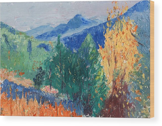 Landscape Wood Print featuring the painting In The Hills by Horacio Prada
