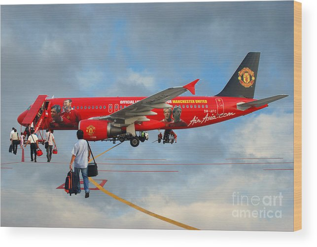 Photography Sky Airplane Passenger People Football Stars Wood Print featuring the photograph In The Sky by Ty Lee