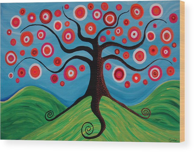 Tree Wood Print featuring the painting Indian Summer by Pamela Cisneros
