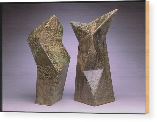 Slab Built Cone 6 Stoneware Wood Print featuring the sculpture Interrelated Forms by Stephen Hawks