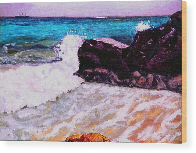 Ocean Wood Print featuring the painting Island Cruise by Stan Hamilton