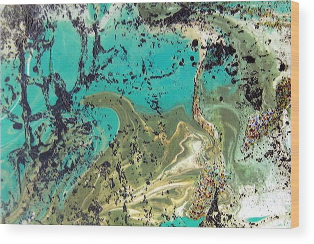 Island Wood Print featuring the painting Island Lagoon by Dawn Hough Sebaugh