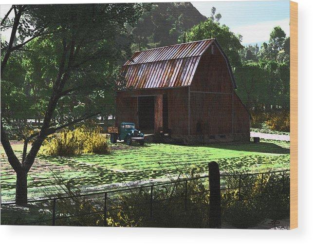 West Virgina Country Roads Mountain Mama Wood Print featuring the digital art Jim Bob's Barn by Steven Palmer