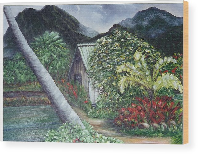 Landscape Wood Print featuring the painting Kanaka House by Laura Johnson
