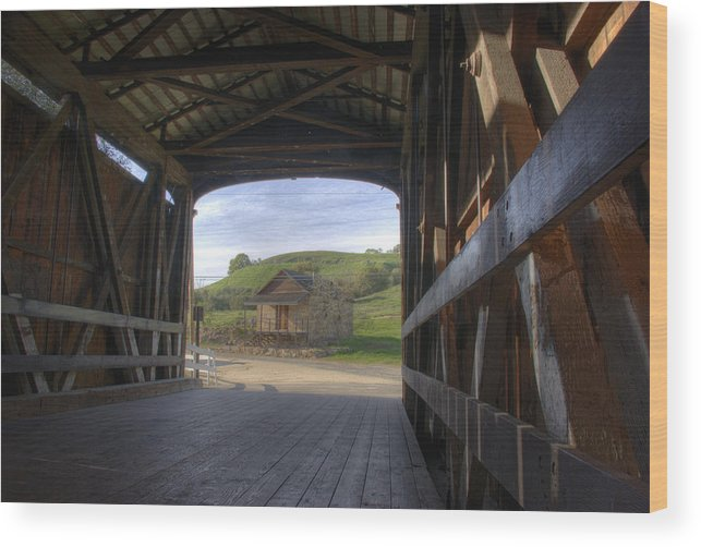 Knights Ferry Wood Print featuring the photograph Knights Ferry Covered Bridge by Jim And Emily Bush