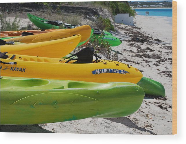 Greens And Yellows Wood Print featuring the photograph Kolorful Kayaks by Nancy Barch