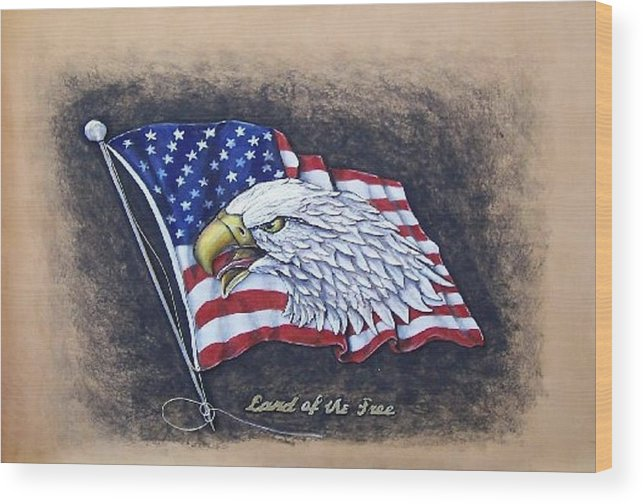Birds Wood Print featuring the painting Land Of The Free by Lilly King
