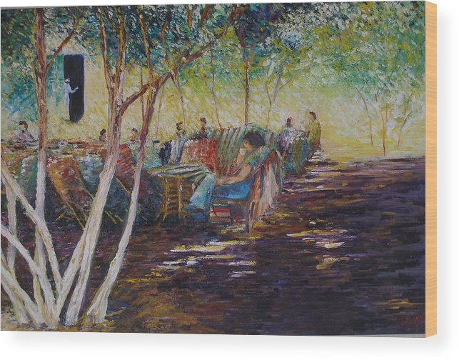 Lifestyle Wood Print featuring the painting Lazy Sunday Afternoon - Cairo by Wendy Chua