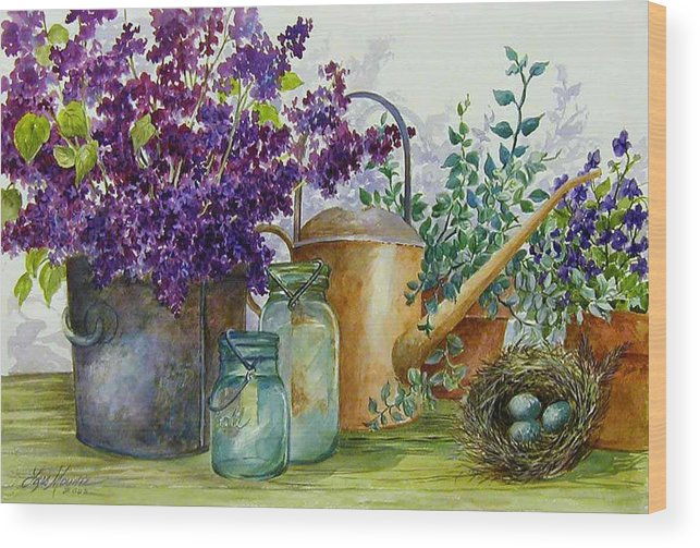 Still Life;lilacs; Ball Jars; Watering Can;bird Nest; Bird Eggs; Wood Print featuring the painting Lilacs And Ball Jars by Lois Mountz