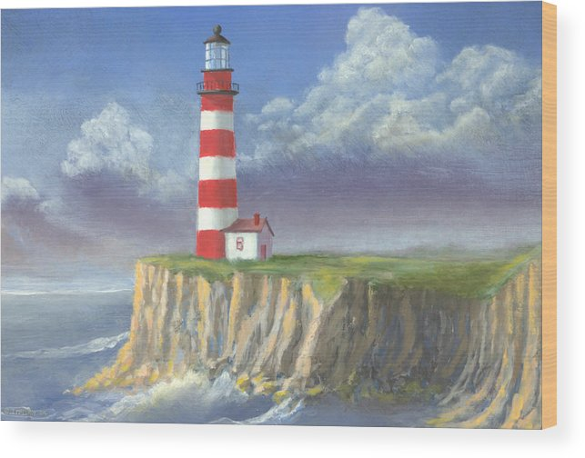 Light Wood Print featuring the painting Lost Point Light by Jerry McElroy