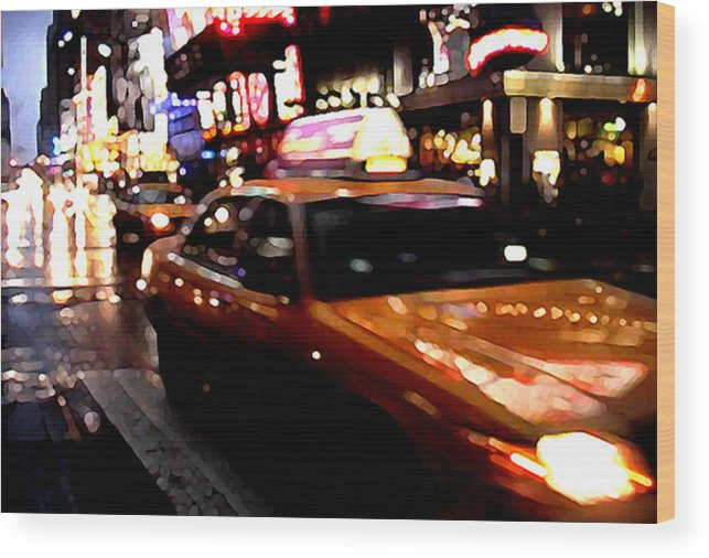 Taxi Wood Print featuring the painting Manhattan Taxis by Jose Roldan Rendon