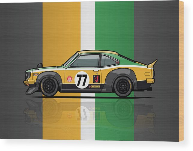 Car Wood Print featuring the digital art Mazda Savanna Gt Rx3 Racing Yoshimi Katayama 1975 by Monkey Crisis On Mars