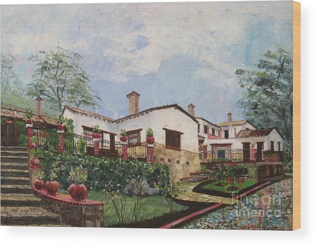 White Stucco Building Wood Print featuring the painting Mexican Hacienda After The Rain by Judith Espinoza
