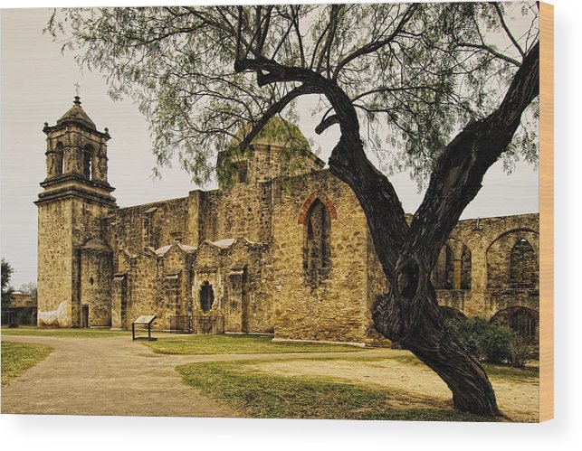 Mission Wood Print featuring the photograph Mission San Jose by Iris Greenwell