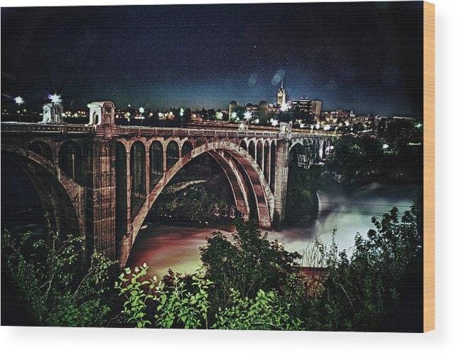 Bridge Wood Print featuring the photograph Monroe St. Bridge by Shirleen Mitchell