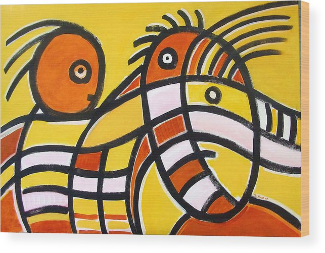 Abstract Wood Print featuring the painting mother and Son by Michael Keogh