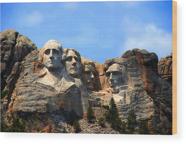 Photography Wood Print featuring the photograph Mount Rushmore In South Dakota by Susanne Van Hulst