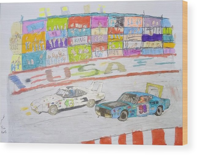 Nascar Wood Print featuring the drawing Nascar Kids by Mike Kia Poppy