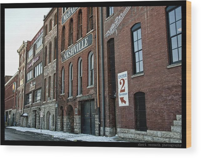 Buildings Wood Print featuring the photograph Nashvegas by Sheri Bartoszek