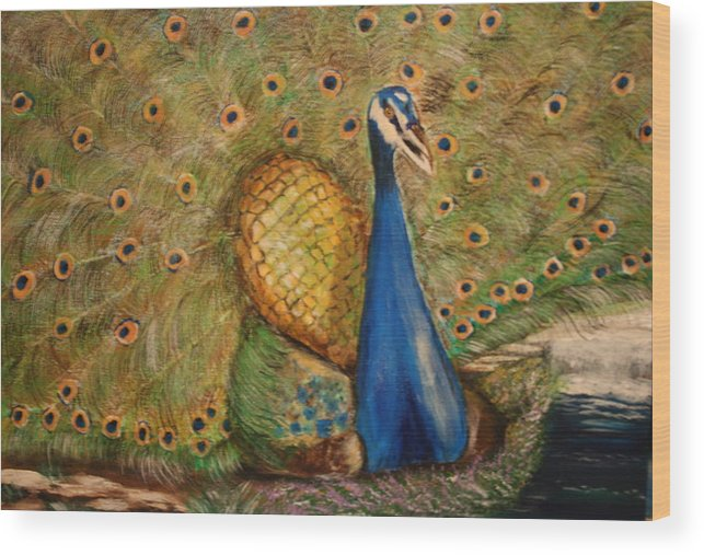 Peacock Wood Print featuring the painting Nbc Pride by Dyanne Parker