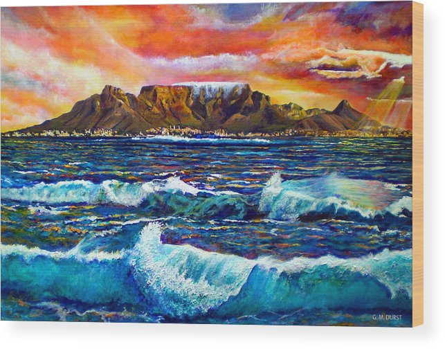 Sunset Wood Print featuring the painting Nelsons View Of Freedom by Michael Durst