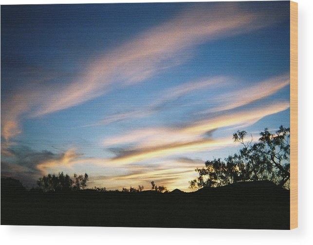 Mesquite Wood Print featuring the photograph November Sunset by Ana Villaronga
