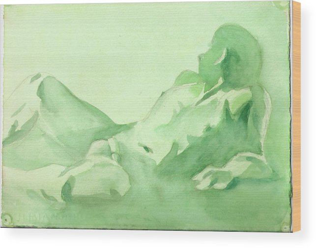 Nude Male Reclining Wood Print featuring the painting Number 88  Figure Of The Artist by Ken Daugherty