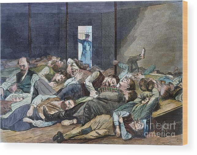 1874 Wood Print featuring the photograph Nyc: Homeless, 1874 by Granger