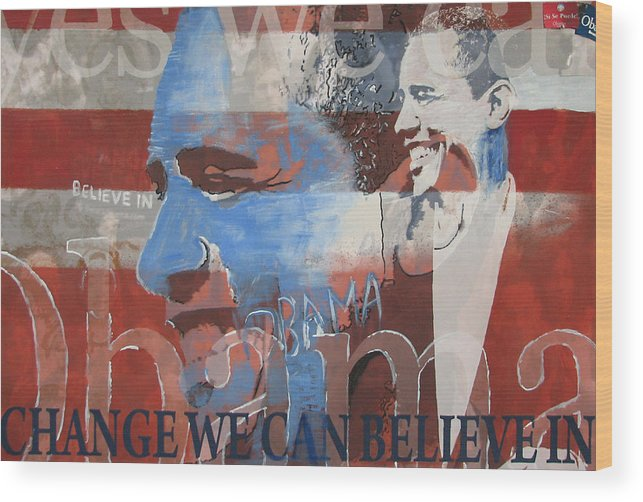 Obama Art Wood Print featuring the mixed media Obama Yes by Xavier Carter