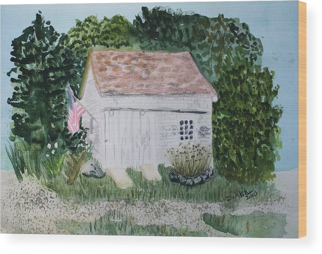 Barn Wood Print featuring the painting Old Barn In Eastham Ma by Donna Walsh