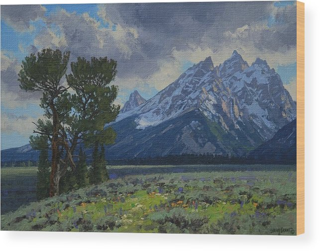 Landscape Wood Print featuring the painting Old Patriarch by Lanny Grant